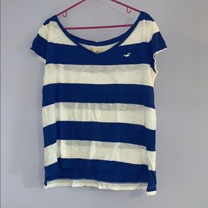 Blue and White V Neck Hollister T-Shirt
